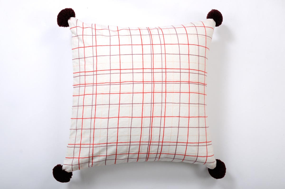 COUSSIN 50X50 BRODE / ROUGE