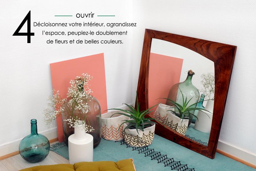 Miroirs, tapis, fleurs, panières, block print, couleurs