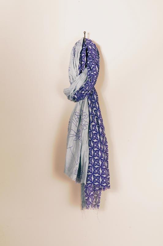 Foulard Tie and Dye 100x180 bleu