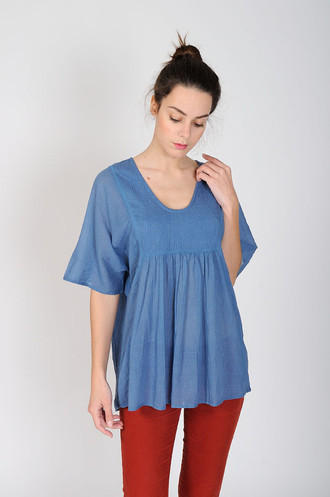 BLOUSE PONCHO / bleue