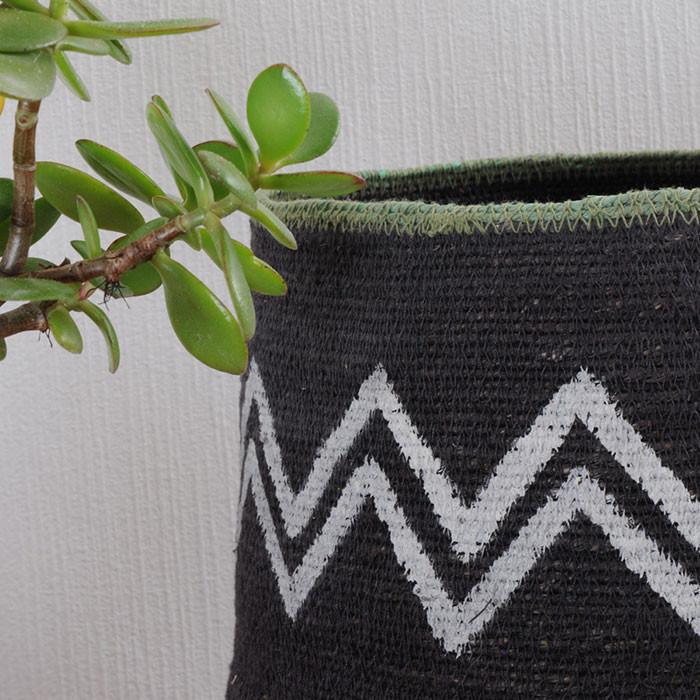 Cache pot / Zigzag noir & blanc